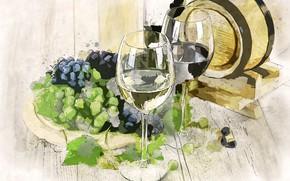 Картинка вино, картина, бокалы, виноград