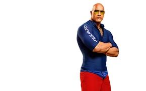 Обои костюм, мускулы, очки, белый фон, лысый, Дуэйн Джонсон, Mitch Buchannon, Baywatch, фигура, Dwayne Johnson, Спасатели ...
