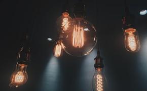 Картинка Макро, Свет, Лампы, Нити накаливания