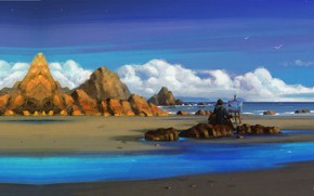 Картинка океан, берег, чайки, арт, художник, Seaside, Sephiroth Art, пленэр