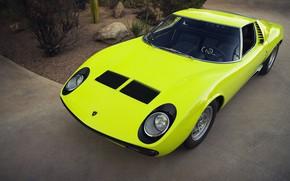 Картинка Авто, Lamborghini, Ретро, Зеленый, Машина, Ресницы, Фары, Автомобиль, Суперкар, 1967, Miura, Supercar, Передок, Lamborghini Miura, …
