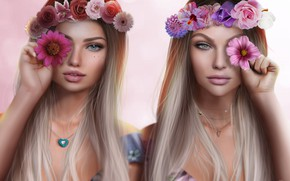 Картинка цветы, девушки, блондинки, венки