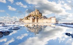 Обои замок, Нормандия, Мон-Сен-Мишель, Франция, отражение, монастырь