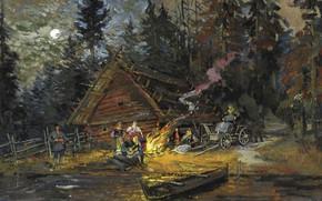 Обои картина, лодка, Песни вокруг Костра, Константин Коровин, изба, пейзаж