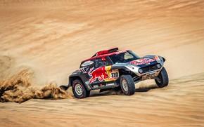 Картинка Песок, Mini, Спорт, Пустыня, Скорость, Rally, Dakar, Дакар, Ралли, RedBull, Buggy, Багги, X-Raid Team, 310, …