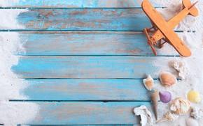 Картинка песок, самолет, ракушки, морская звезда