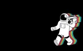 Картинка Музыка, Фон, Космонавт, Магнитофон, Synthpop, Retrowave, Synthwave, New Retro Wave, Retro Games, Spaceretro