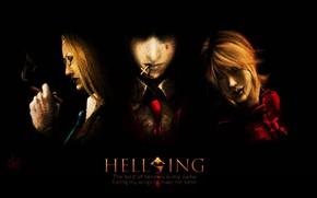 Картинка тьма, кровь, крест, пятна, сигара, вампир, Hellsing, Alucard, Integra, Victoria Seras