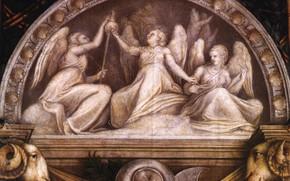 Картинка ангелы, арка, щит, тапор, Антонио Аллегри Корреджо, Фрески в монастыре Святого Павла в Парме, эпоха …
