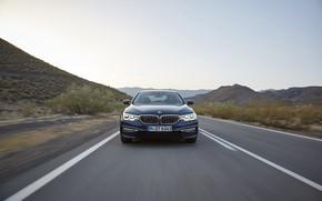 Картинка дорога, небо, горы, BMW, седан, вид спереди, xDrive, 530d, Luxury Line, 5er, тёмно-синий, четырёхдверный, 2017, …
