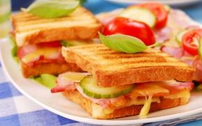 Картинка огурец, хлеб, бутерброд, овощи, бекон
