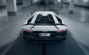 Обои фары, Lamborghini, суперкар, спойлер, вид сзади, 2018, Novitec Torado, Aventador S