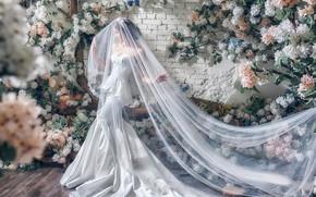 Картинка цветы, поза, стиль, модель, азиатка, невеста, фата, свадебное платье