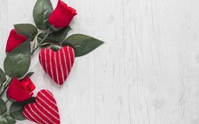 Картинка Сердечки, Розы, Праздник, День святого Валентина, День влюбленных