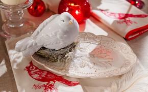 Картинка птичка, Посуда, декор, Сервировка стола, Свечка