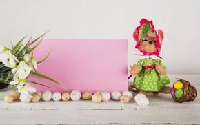 Картинка цветы, яйца, кукла, пасха, Праздник