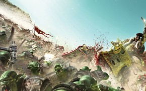 Картинка blood, bike, space marines, battle, Warhammer 40 000, orc, Jaghatai Khan, ork, White Scars, xenos
