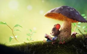 Картинка гриб, мышь, 3D art, Arthur Gatineau