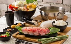 Картинка рыба, суп, рис, ассорти