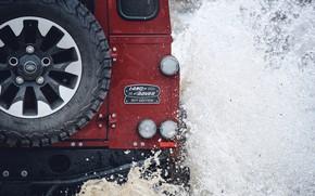 Картинка вода, брызги, красный, внедорожник, сзади, Land Rover, 2018, Defender, V8, запасное колесо, Defender Works V8, …