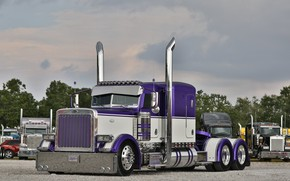 Обои Truck, Hrome, Peterbilt, Custom, Purple