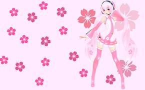 Картинка цветы, аниме, арт, девочка, вокалоид, Мику, KasokuSato Sakura Miku