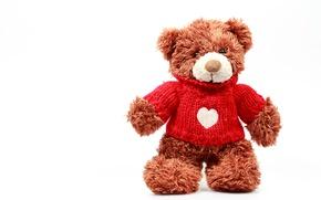 Картинка Сердце, Медведь, Свитер, Белый Фон, Мишки