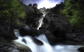 Картинка деревья, камни, водопад