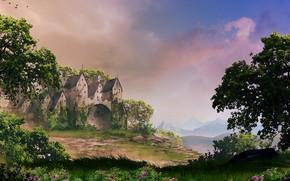 Картинка деревья, цветы, природа, замок, Castle