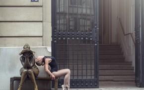 Обои статуя, Johanna Lorand Guilbert, пуанты, скамья, балерина