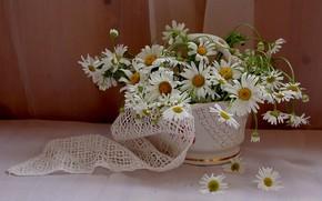 Картинка цветы, стол, ромашки, букет, ваза