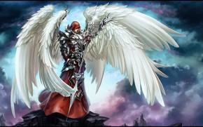 Картинка крылья, Ангел, воин, броня, weapon, wings, Angel