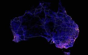 Картинка линии, огни, Австралия, материк