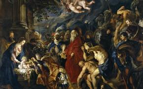 Картинка картина, религия, Питер Пауль Рубенс, мифология, Поклонение Волхвов, Pieter Paul Rubens