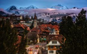 Картинка дорога, облака, деревья, пейзаж, горы, огни, улица, дома, вечер, Швейцария, крыши, Canton of Berne, Gundlischwand