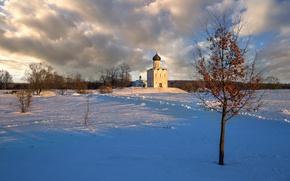 Картинка снег, церковь, храм, Покрова на Нерли