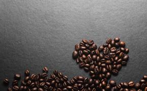 Картинка фон, сердце, кофе, зерна, love, heart, texture, background, beans, coffee, roasted