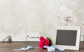 Картинка roses, wood, рамка, pink, розы, букет, flowers, розовые розы