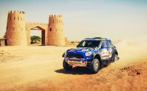 Картинка Песок, Mini, Пыль, Спорт, Скорость, Гонка, Башни, Rally, Внедорожник, Ралли, 206, X-Raid Team, MINI Cooper, …