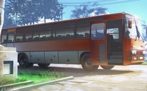 Картинка дорога, провода, автобус, Everlasting Summer, Summer camp