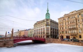Картинка лед, зима, небо, мост, река, HDR, дома, Санкт-Петербург, набережная, rivers, bridges, houses, St. Petersburg