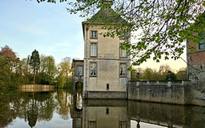 Обои landscape, Nivelles, Medieval, architecture, Belgium, Seneffe, Arquennes, old, Hainaut, Castel, House, French, Lake, Renaissance, style, ...