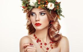 Картинка украшения, портрет, макияж, прическа, белый фон, шатенка, красотка, венок