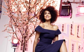 Картинка girl, dress, woman, pose, Nathalie Emmanuel