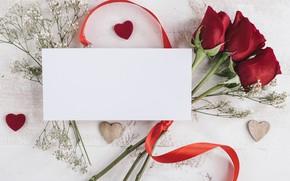 Картинка цветы, букет, лента, Розы, открытка