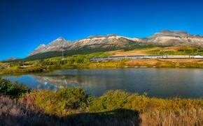 Картинка осень, лес, небо, солнце, деревья, горы, озеро, поезд, панорама, железная дорога, США, состав, кусты, Glacier …