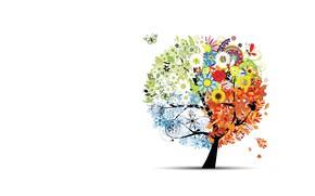 Картинка дерево, времена года, вектор, арт, детская