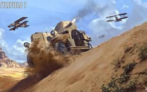 Картинка горы, пустыня, самолёт, броневик, Battlefield 1