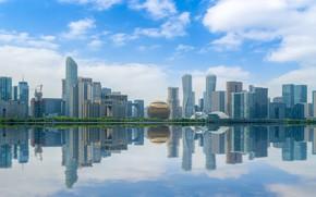 Картинка Город, Река, Небоскребы, Китай, Шанхай, Городской пейзаж