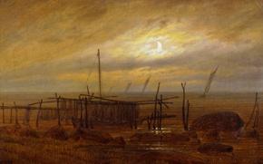 Картинка облака, пейзаж, сети, лодка, картина, Луна, парус, Каспар Давид Фридрих, Берег Моря
